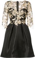 Monique Lhuillier floral overlay dress