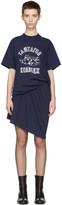 Junya Watanabe Navy Ruched T-shirt Dress