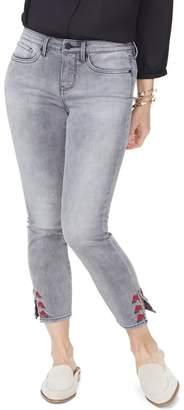 NYDJ Ami Rose Embroidered Slit Hem Ankle Jeans