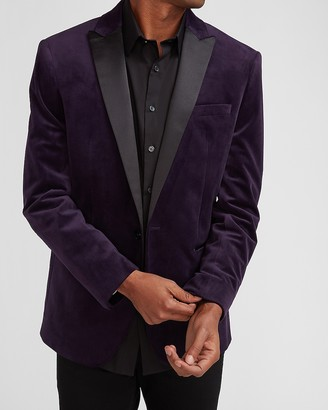 Express Slim Solid Purple Velvet Tuxedo Jacket