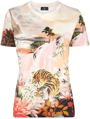 Etro jungle waterfall print T-shirt