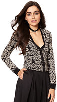 New York & Co. 7th Avenue - V-Neck Chelsea Cardigan - Lurex Jacquard