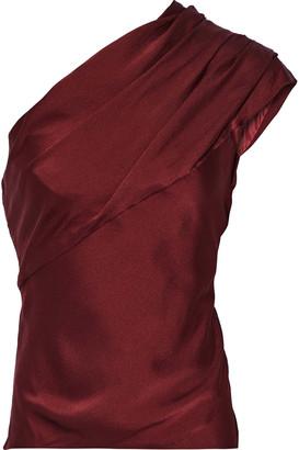 Lanvin One-shoulder Gathered Hammered Silk-satin Top