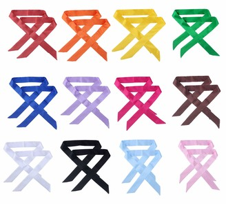 CHUNG 20/24/25 Pcs Skinny Neckerchief Hair Scarf Headband Handbag Handle Wrap Ribbon Tie for Women Fashion Decoration 12x2pcs