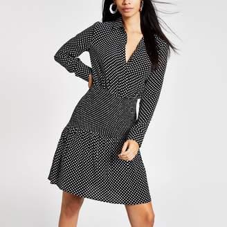 River Island Womens Black polka dot shirred shirt dress