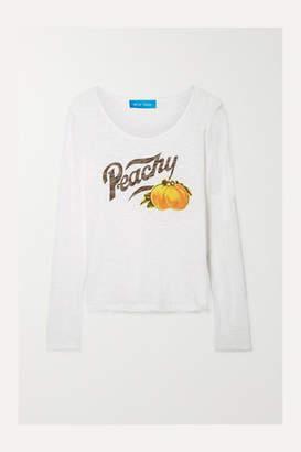 MiH Jeans Patty Printed Slub Cotton-jersey Top - White