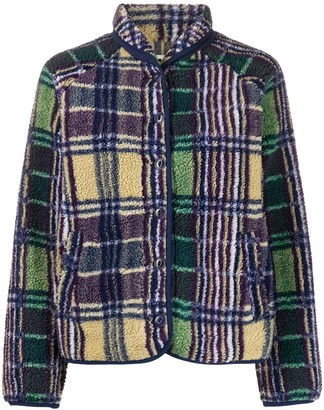 YMC Plaid Faux-Fur Jacket