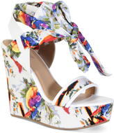 Bamboo White & Blue Floral Strappy Charade Wedge