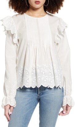 ENGLISH FACTORY Eyelet Lace Pintuck Cotton Blouse