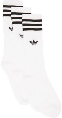 adidas Three-Pack White Solid Crew Socks