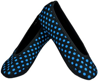 Nufoot Ballet Flats Women's Shoes Best Foldable & Flexible Flats Slipper Socks Travel Slippers & Exercise Shoes Dance Shoes Yoga Socks House Shoes Indoor Slippers Black with Blue Polka Dots Large
