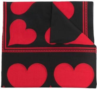 Alexander McQueen Heart Print Silk-Blend Scarf