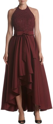 R & M Richards R&M Richards Women's Laced Halter high Low Gown