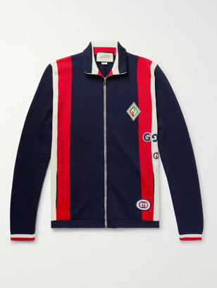 Gucci Logo-Appliqued Striped Wool Zip-Up Sweater