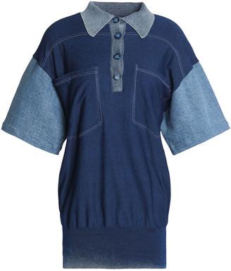 Stella McCartney Denim-paneled Cotton-jersey Polo Shirt