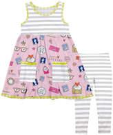 Gray 'Love' Babydoll Dress & Orange Stripe Leggings - Girls