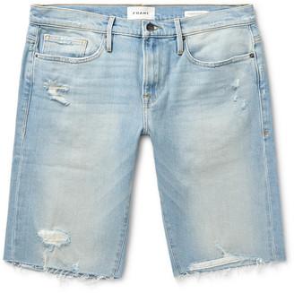 Frame L'homme Slim-Fit Distressed Denim Shorts