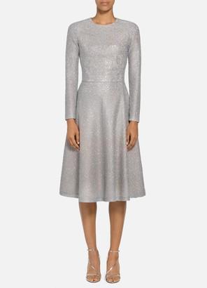 St. John Bejeweled Silver Netting Dress