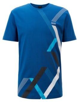HUGO BOSS Crew Neck T Shirt In Interlock Cotton With Geometric Print - Light Blue