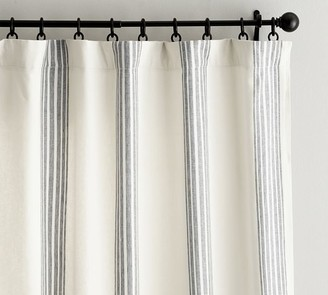Pottery Barn Riviera Striped Linen/Cotton Rod Pocket Blackout Curtain - Red