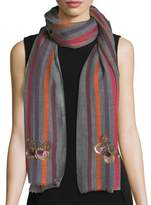 Janavi Butterfly Wool-Silk Striped Scarf