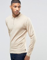 Bellfield Zip Detail Knitted Polo Sweater