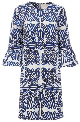 24/7 Flounce Sleeve Midi Dress