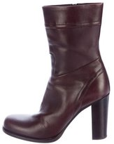 Jil Sander Leather Round-Toe Ankle Boots