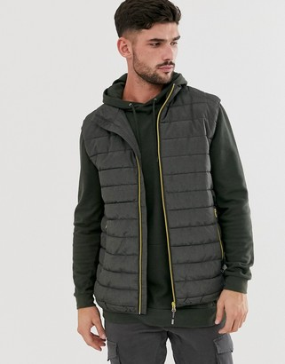 ONLY & SONS puffer gilet with stand collar in dark grey