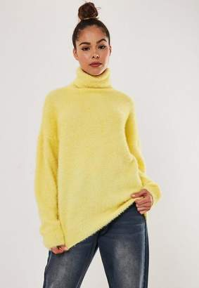 Missguided Yellow Drop Shoulder Turtle Neck Fluffy Sweater
