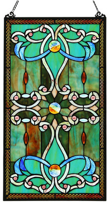 "River Of Goods 26"" Tiffany Style Stained Glass Brandi's Window Panel, Green"