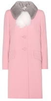 Miu Miu Virgin Wool Coat With Fur