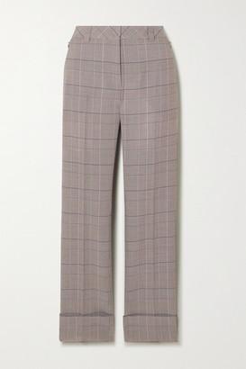 Akris Maxima Checked Wool Straight-leg Pants - Gray