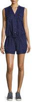Joie Apoline Sleeveless Shorts Linen Romper, Blue