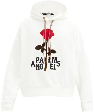 Palm Angels Red Rose-printed Cotton-jersey Hooded Sweatshirt - Red White