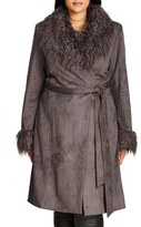 City Chic Plus Size Women's '70S Vibe Faux Shearling Coat