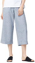 Warehouse Stripe Linen Blend Cropped Trousers, Blue