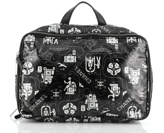 Chanel Airline Travel Bag Printed Coated Canvas Large
