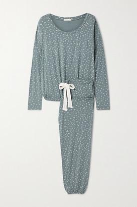 Eberjey Bloom Floral-print Stretch-modal Jersey Pajama Set - Gray