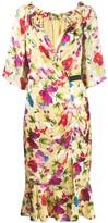 Saloni floral shift midi dress