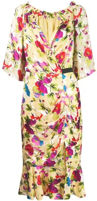 Saloni Floral Shift Midi Dress