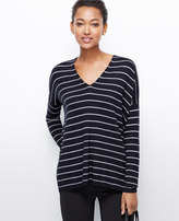 Ann Taylor Striped V-Neck Tunic Sweater