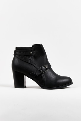 Wallis **WIDE FIT Black Front Strap Boot