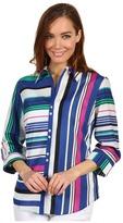 Paperwhite Cotton/Silk Multi Stripe Shirt (Multi) - Apparel