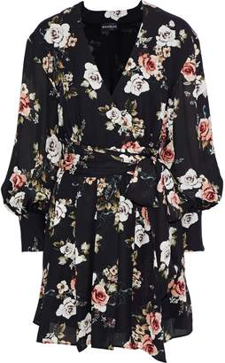 Nicholas Black Rose Wrap-effect Floral-print Silk-georgette Mini Dress