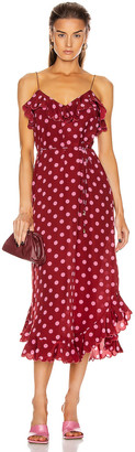 Zimmermann Scallop Tank Dress in Cerise & Pink Dot | FWRD