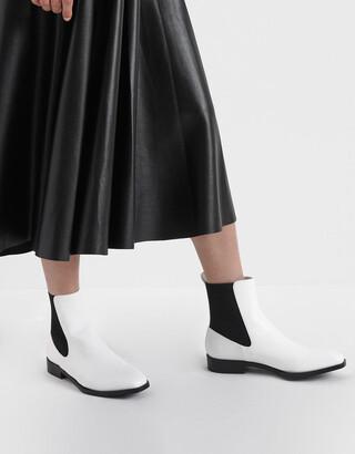 Charles & Keith Two-Tone Mini Square Toe Chelsea Boots