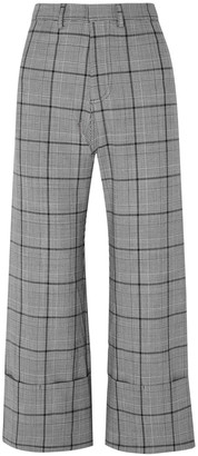 Sea Bacall Cropped Prince Of Wales Checked Jacquard Wide-leg Pants
