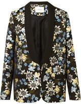 Erdem Anisha Floral-jacquard Tuxedo Jacket - Black