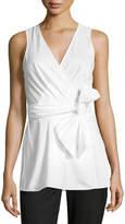 Diane von Furstenberg Sleeveless Poplin Wrap Top, White